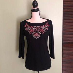Karen Scott Embroidered Long Sleeve T Size Small